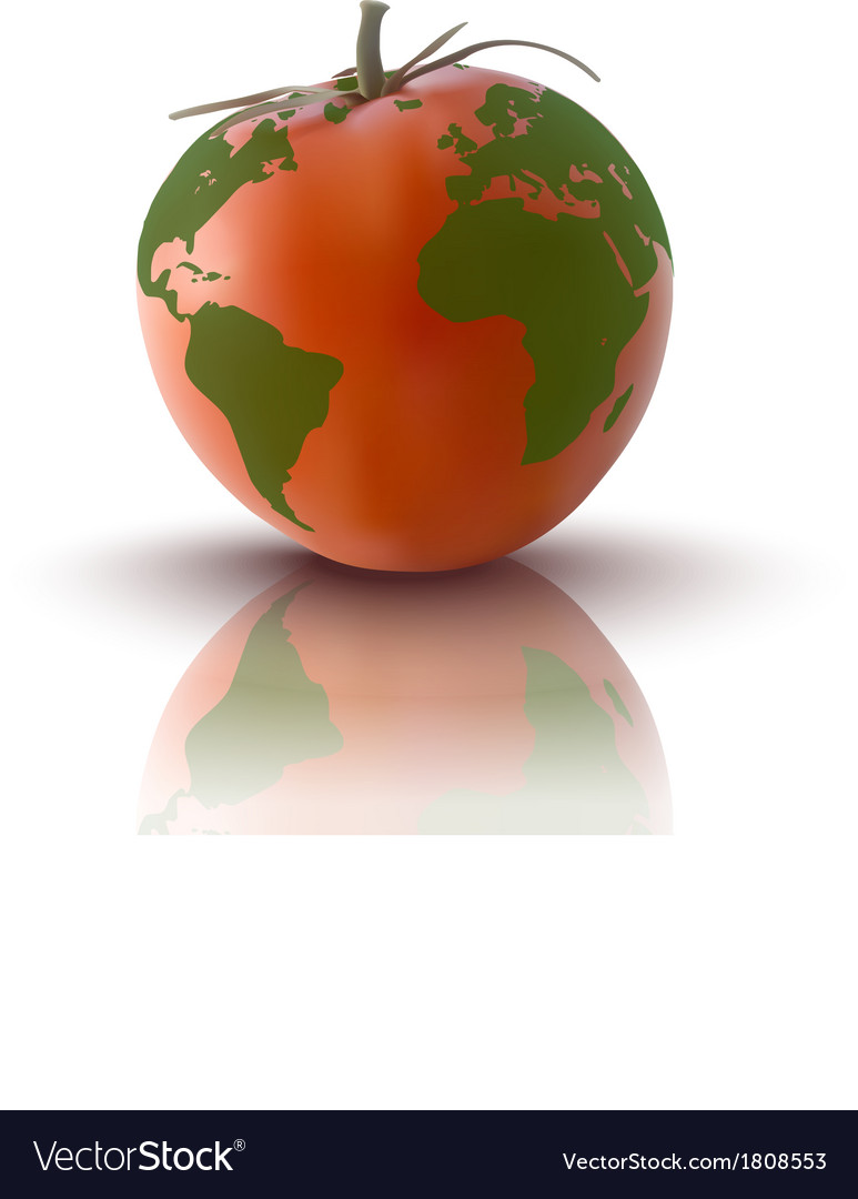 Red tomato with planet earth vector | Price: 1 Credit (USD $1)