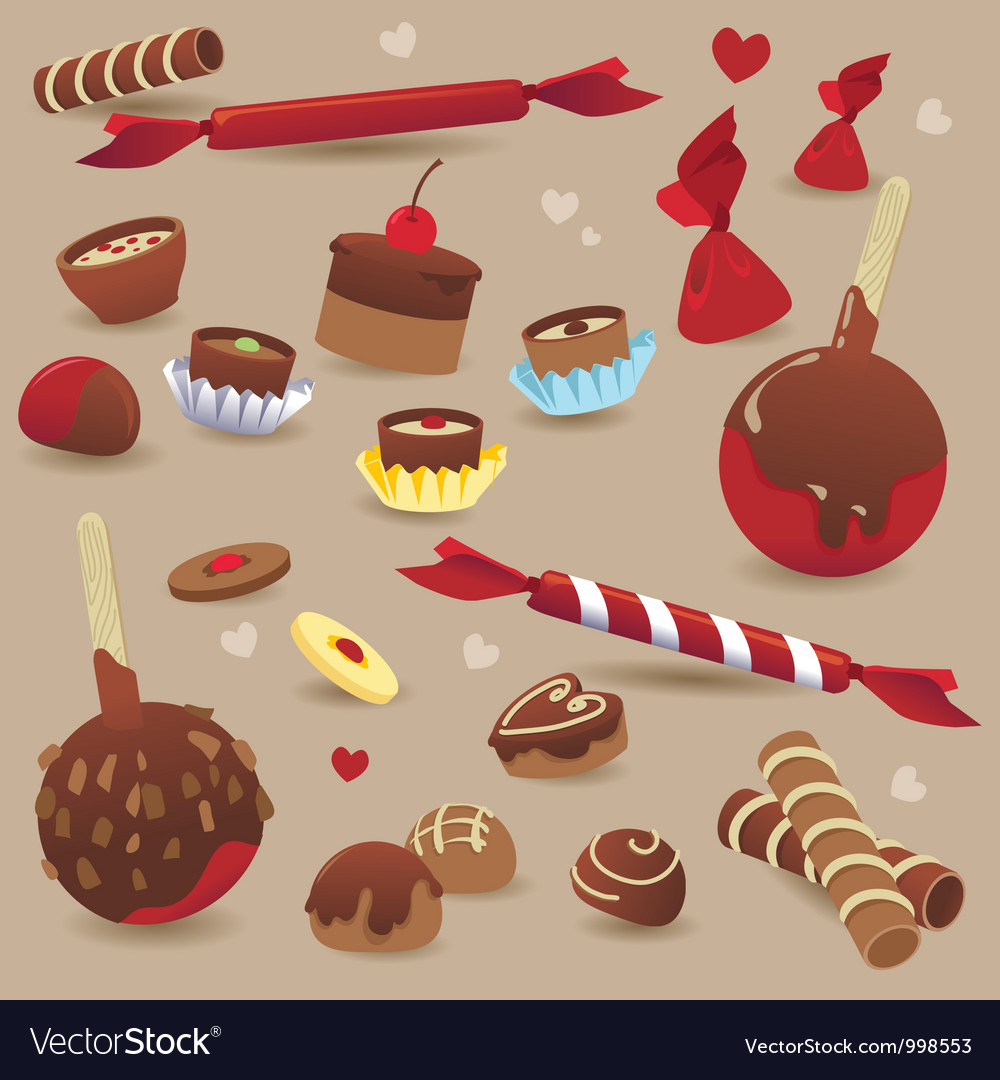 Set of sweet chocolate candy vector | Price: 1 Credit (USD $1)