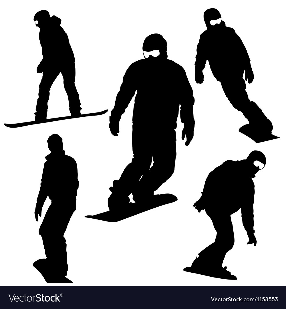 Set snowboarders silhouettes vector