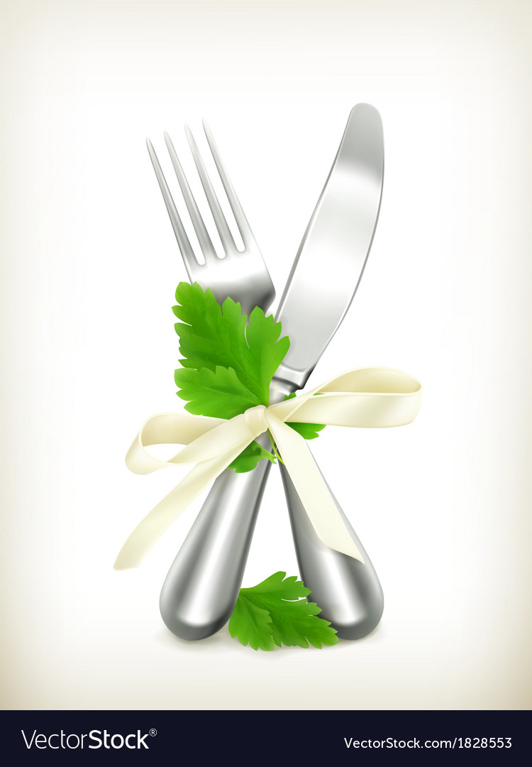 Table knife and fork with parsley icon vector | Price: 1 Credit (USD $1)