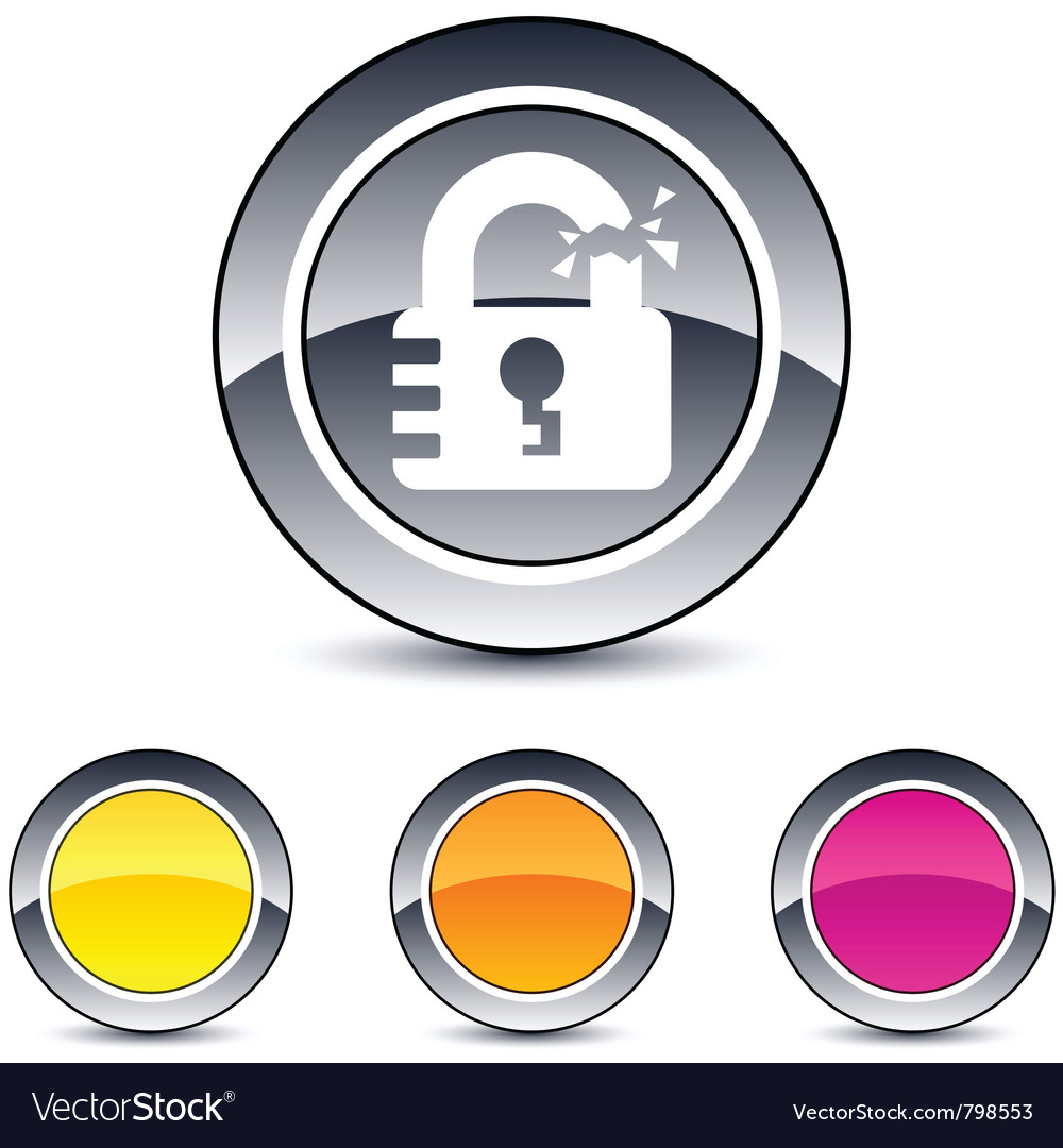 Unlock round button vector | Price: 1 Credit (USD $1)