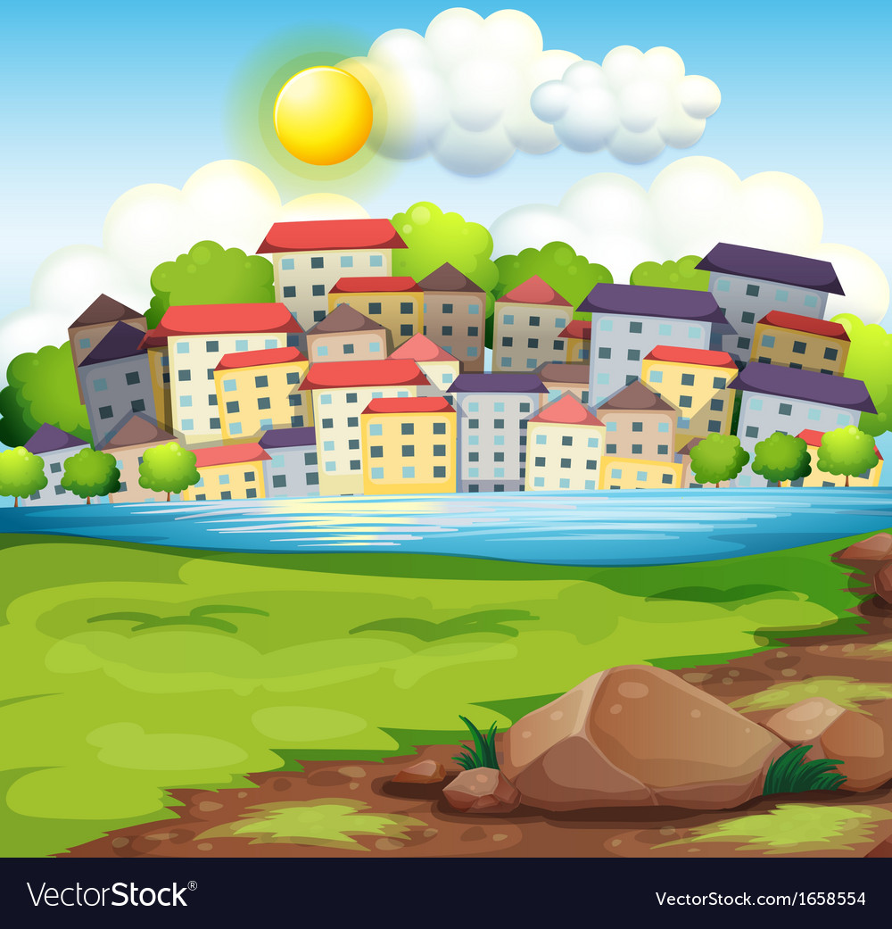 A village near the river vector | Price: 3 Credit (USD $3)