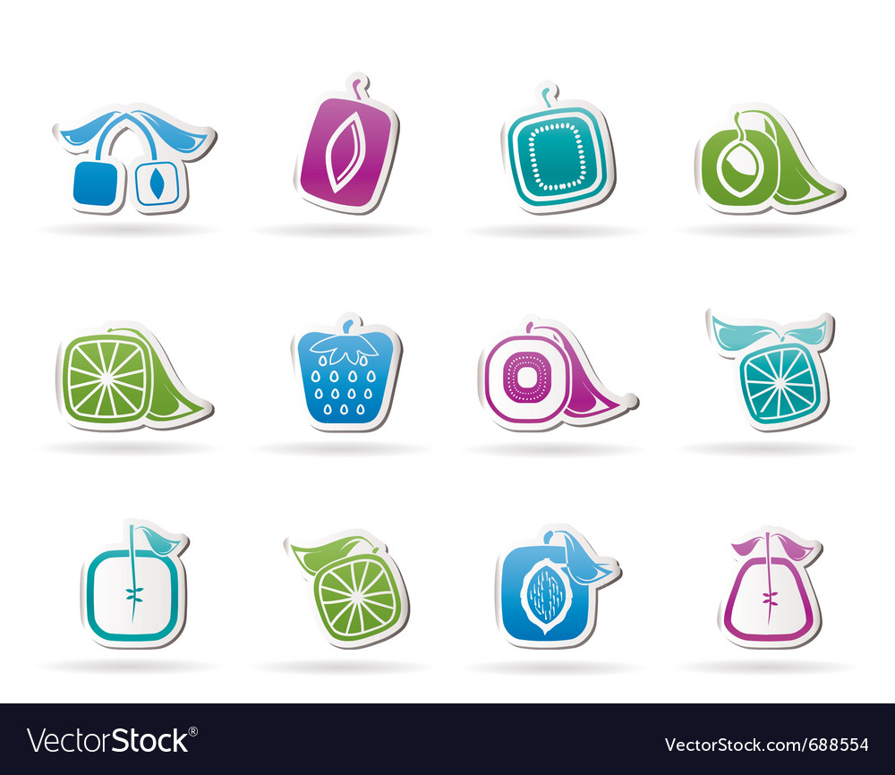 Abstract square fruit icons vector | Price: 1 Credit (USD $1)