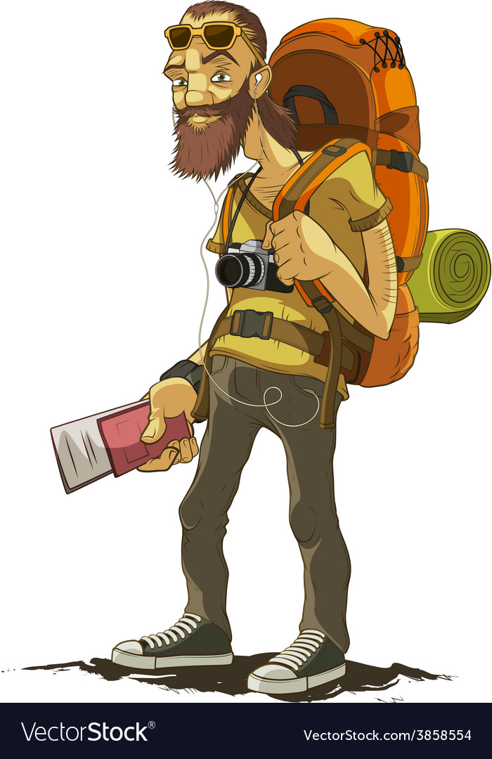 Bearded traveler with a large backpack vector | Price: 3 Credit (USD $3)