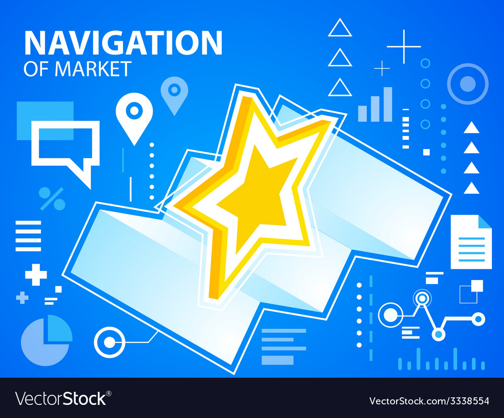 Bright navigation map and star on blue backg vector | Price: 3 Credit (USD $3)