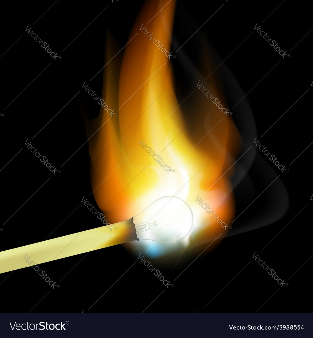 Burning match in the form of light bulbs vector | Price: 1 Credit (USD $1)