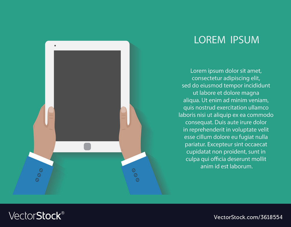 Business man holds holding tablet computer vector | Price: 1 Credit (USD $1)