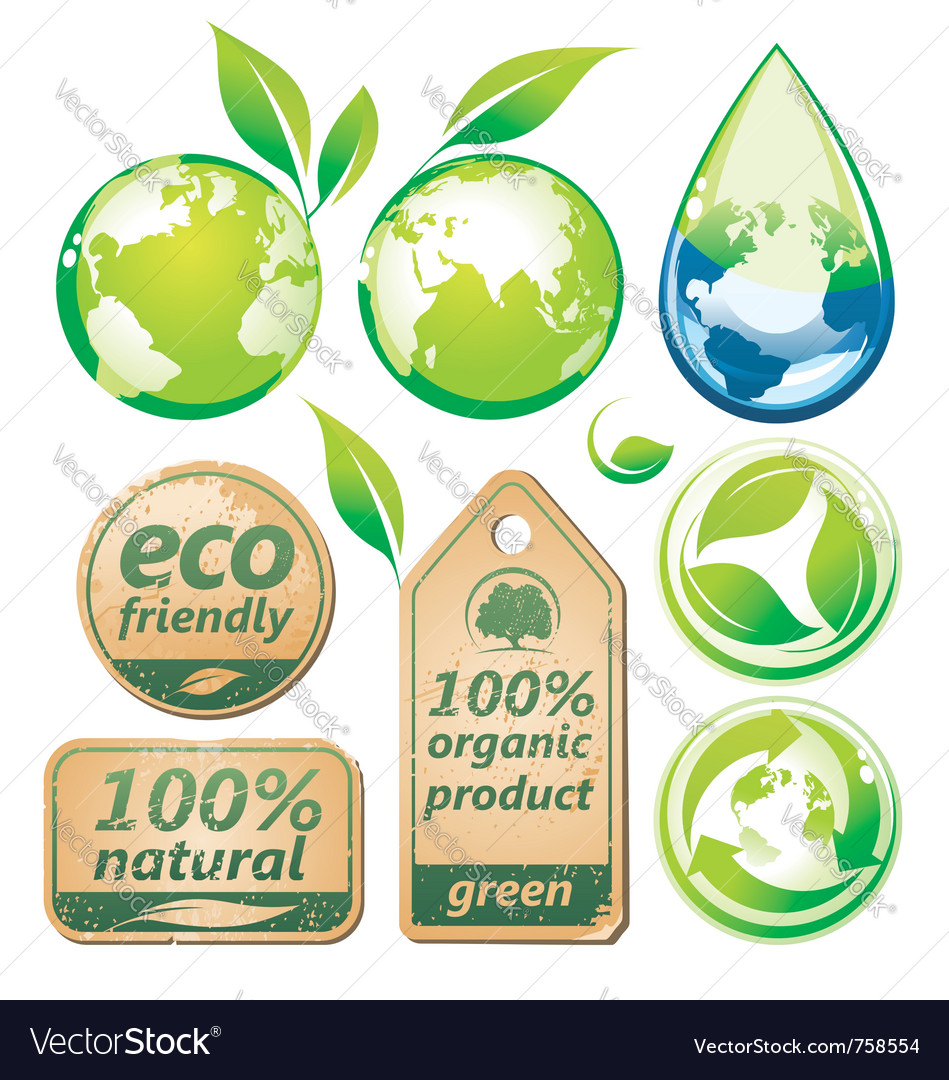 Green environmental set vector | Price: 1 Credit (USD $1)