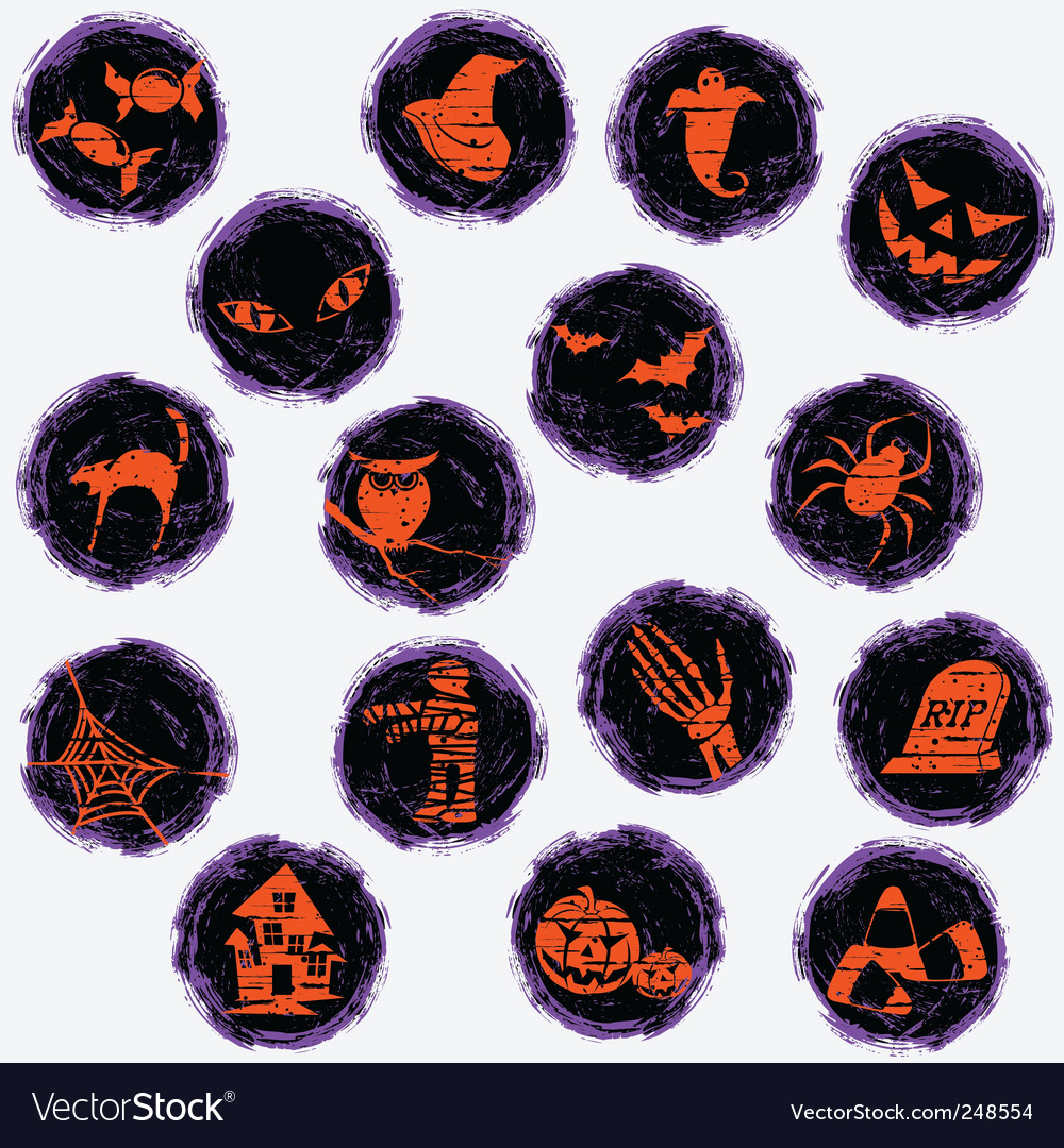 Grunge halloween icons vector | Price: 1 Credit (USD $1)