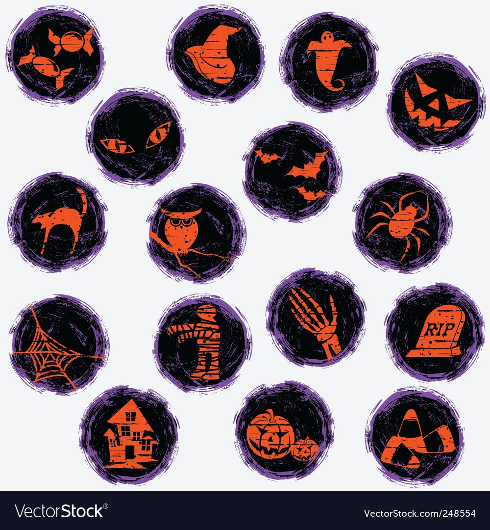 Grunge halloween icons vector | Price: 1 Credit (USD $1)