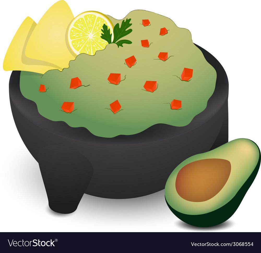 Guacamole in traditional mexican molcajete vector | Price: 1 Credit (USD $1)