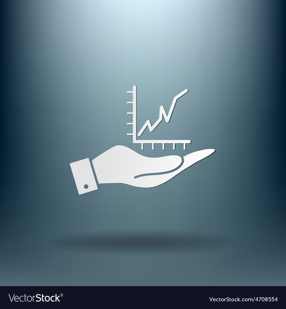 Hand holding a chart diagram figure business icon vector   Price: 1 Credit (USD $1)