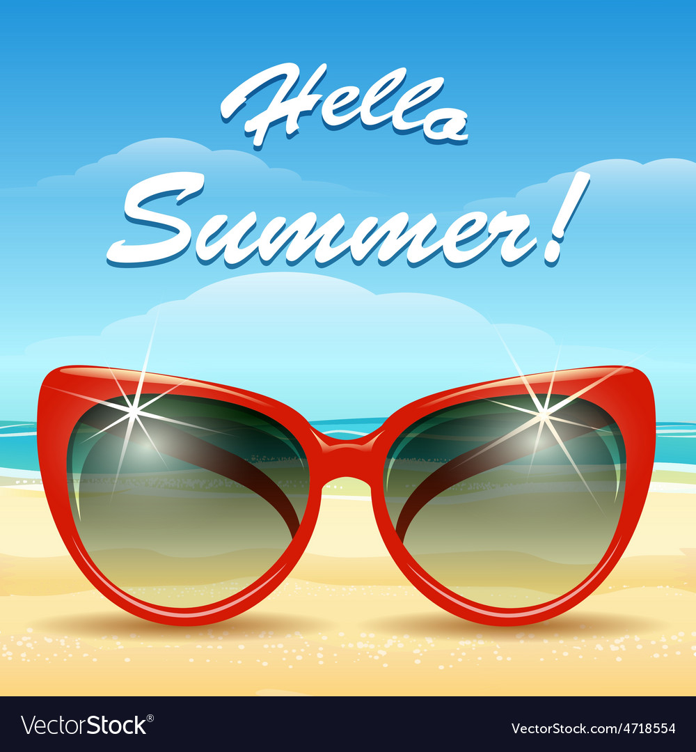 Hello summer theme vector | Price: 3 Credit (USD $3)