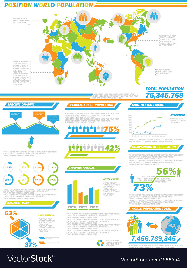 Infographic demographics population 2 special vector | Price: 1 Credit (USD $1)
