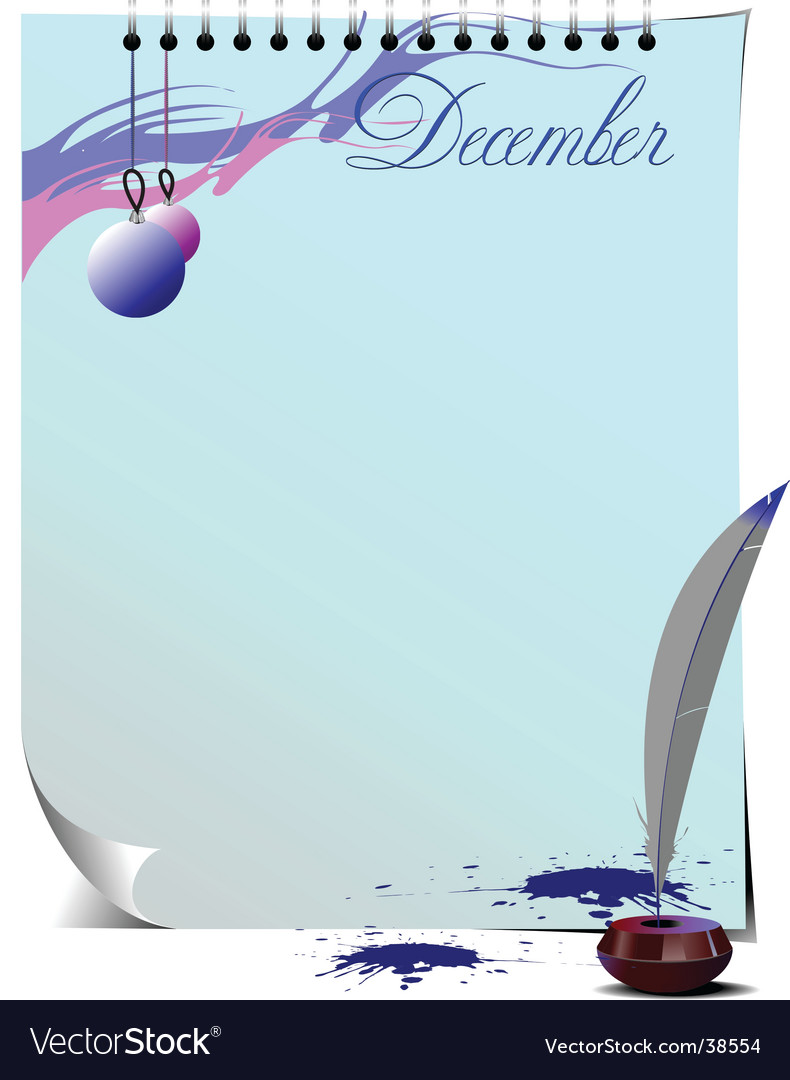 Note page december vector | Price: 1 Credit (USD $1)