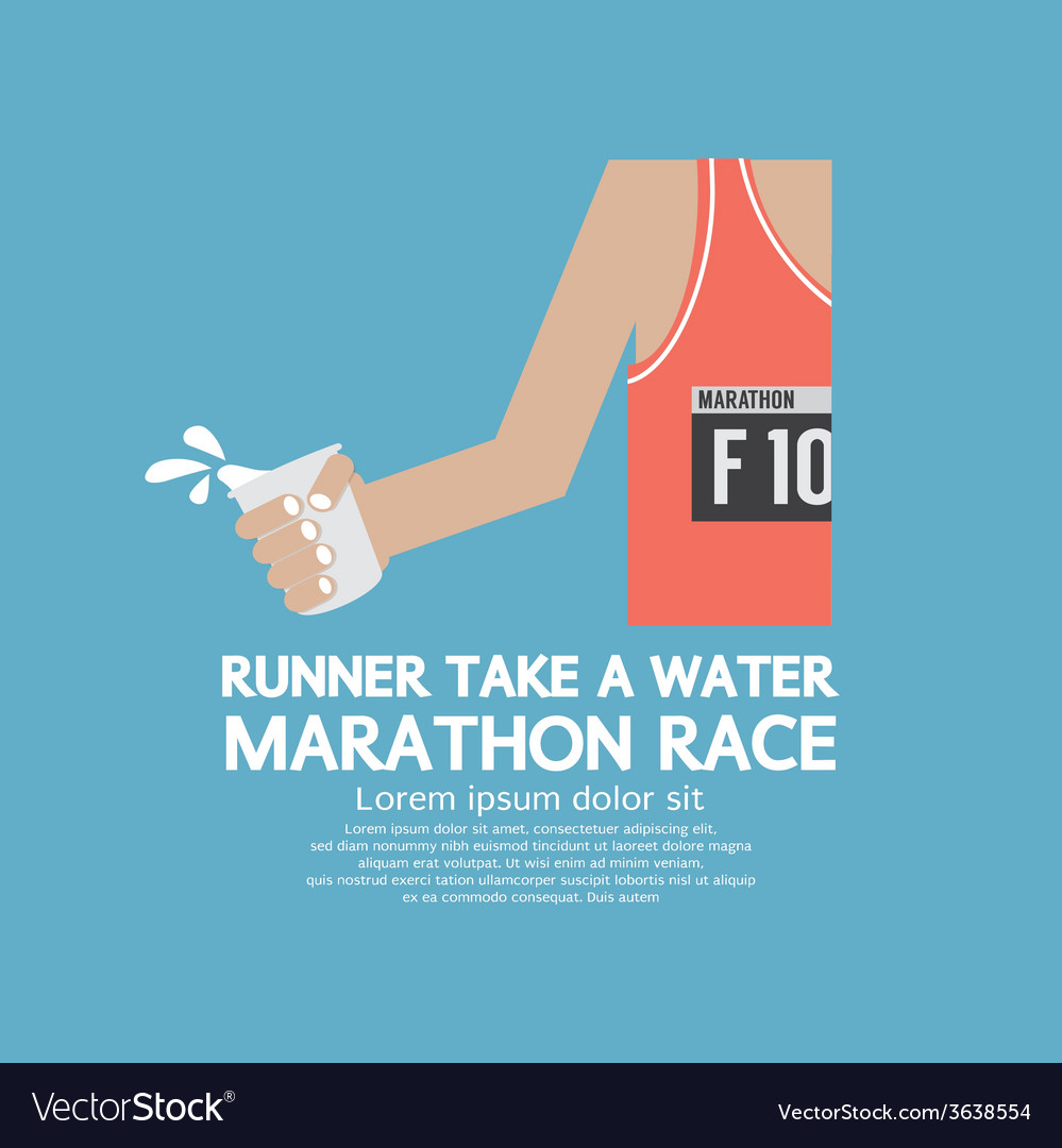 Runner take a water in a marathon race vector | Price: 1 Credit (USD $1)