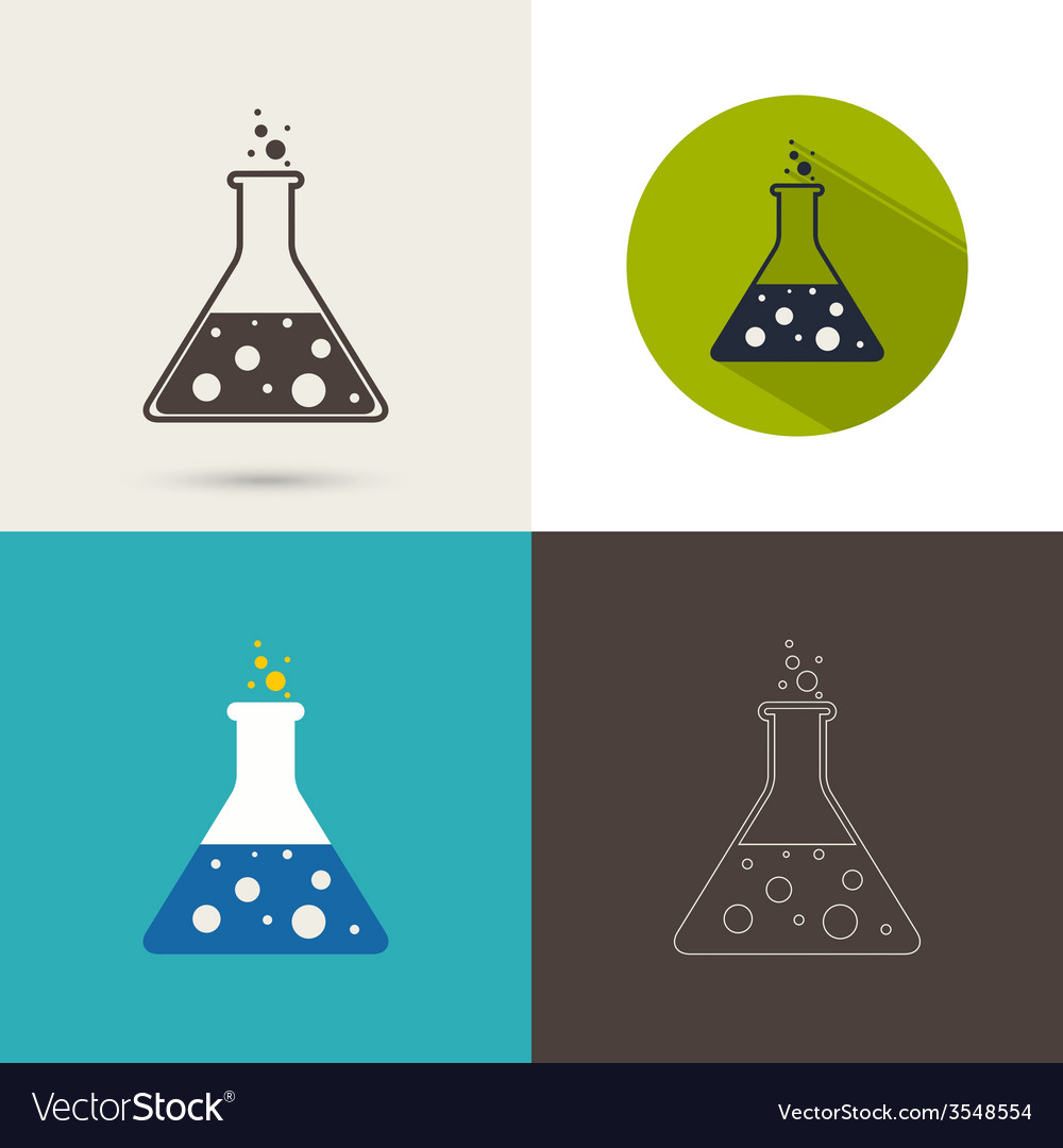 Set of icons with chemical flask vector | Price: 1 Credit (USD $1)