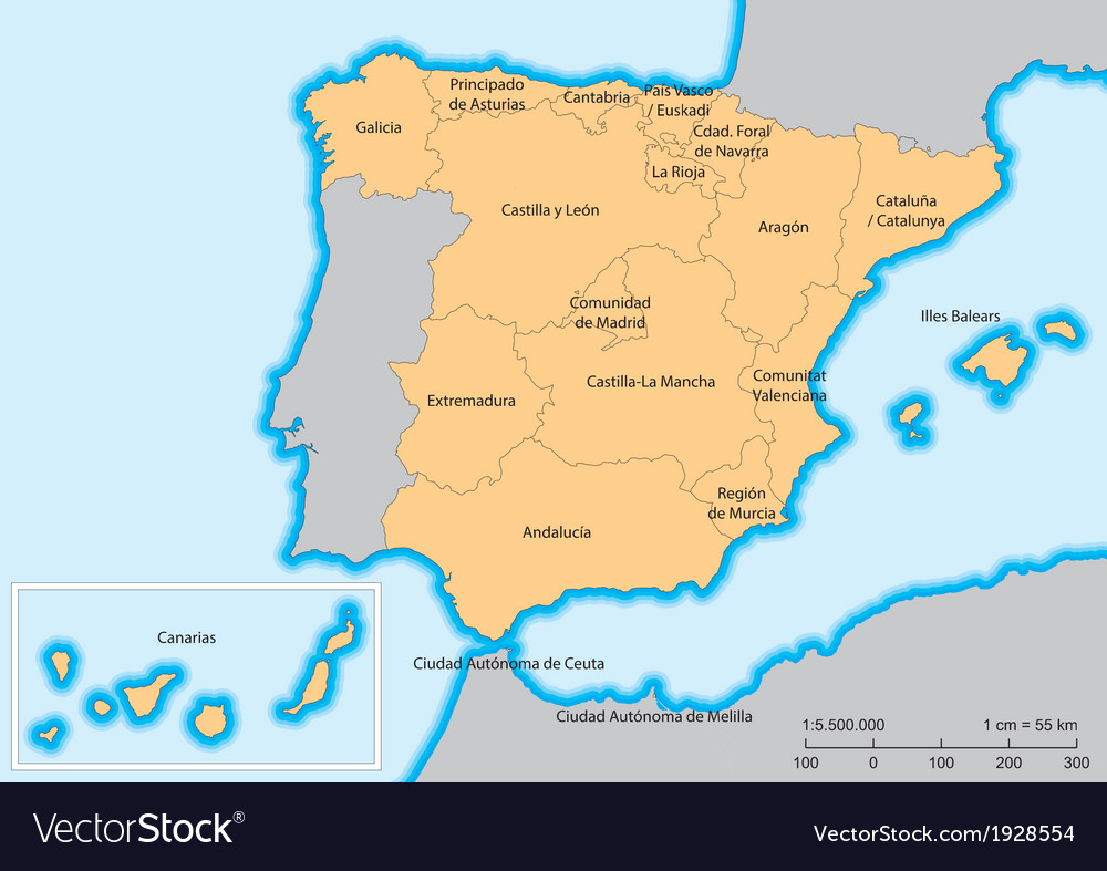 Spain map autonomous communities vector | Price: 1 Credit (USD $1)