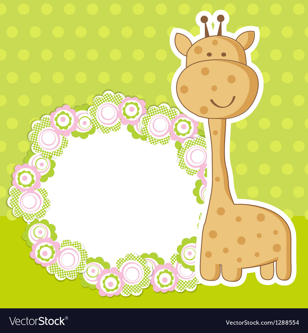 Vintage baby girl arrival announcement card vector | Price: 1 Credit (USD $1)