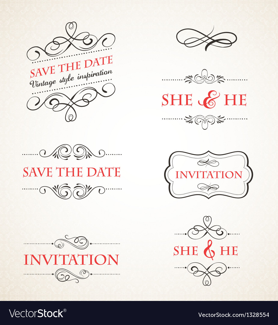 Vintage wedding invitations set vector | Price: 1 Credit (USD $1)