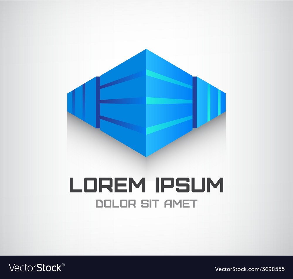 3d abstract cube logo office building vector | Price: 1 Credit (USD $1)
