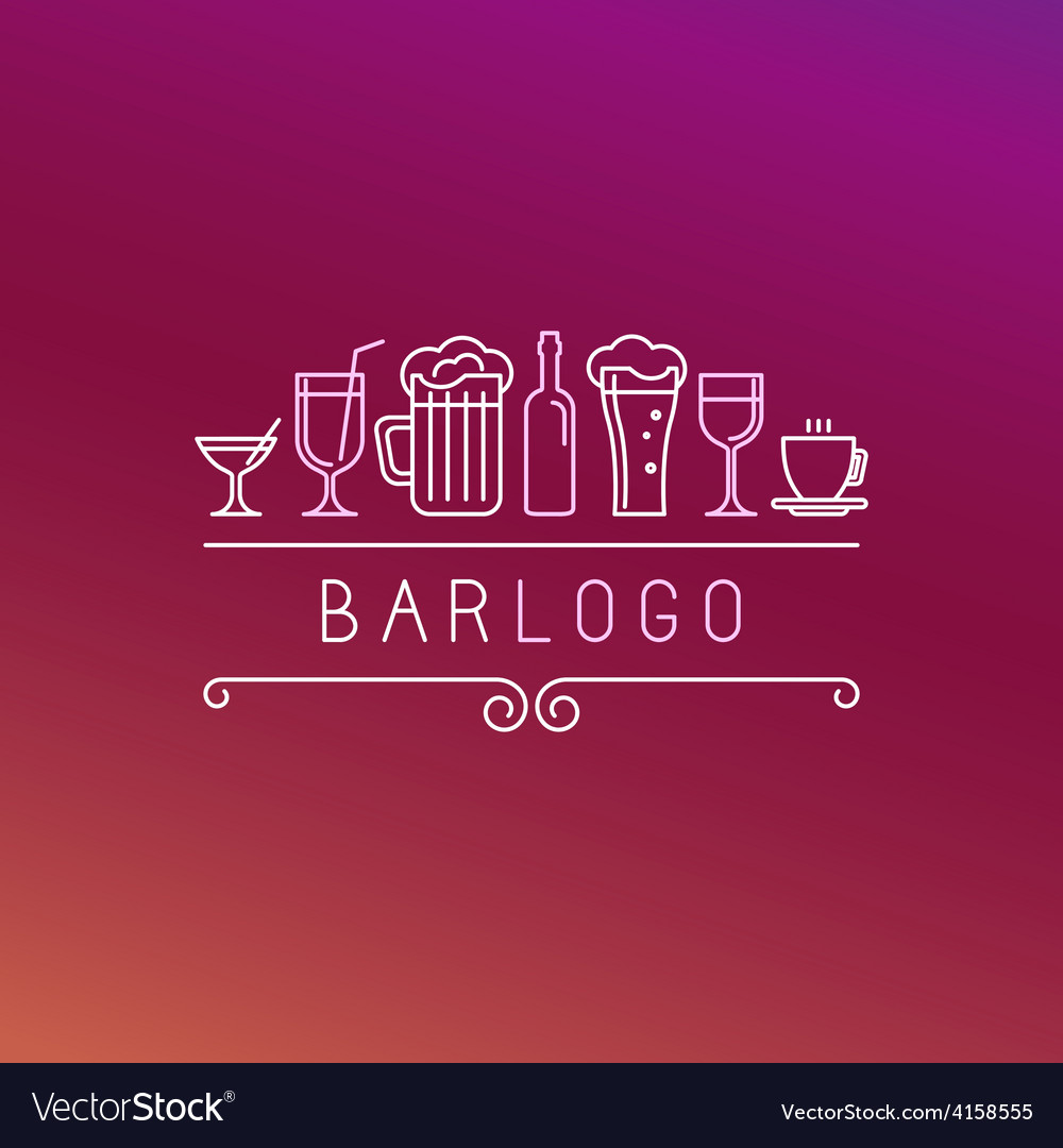 Bar logo in linear style vector | Price: 1 Credit (USD $1)