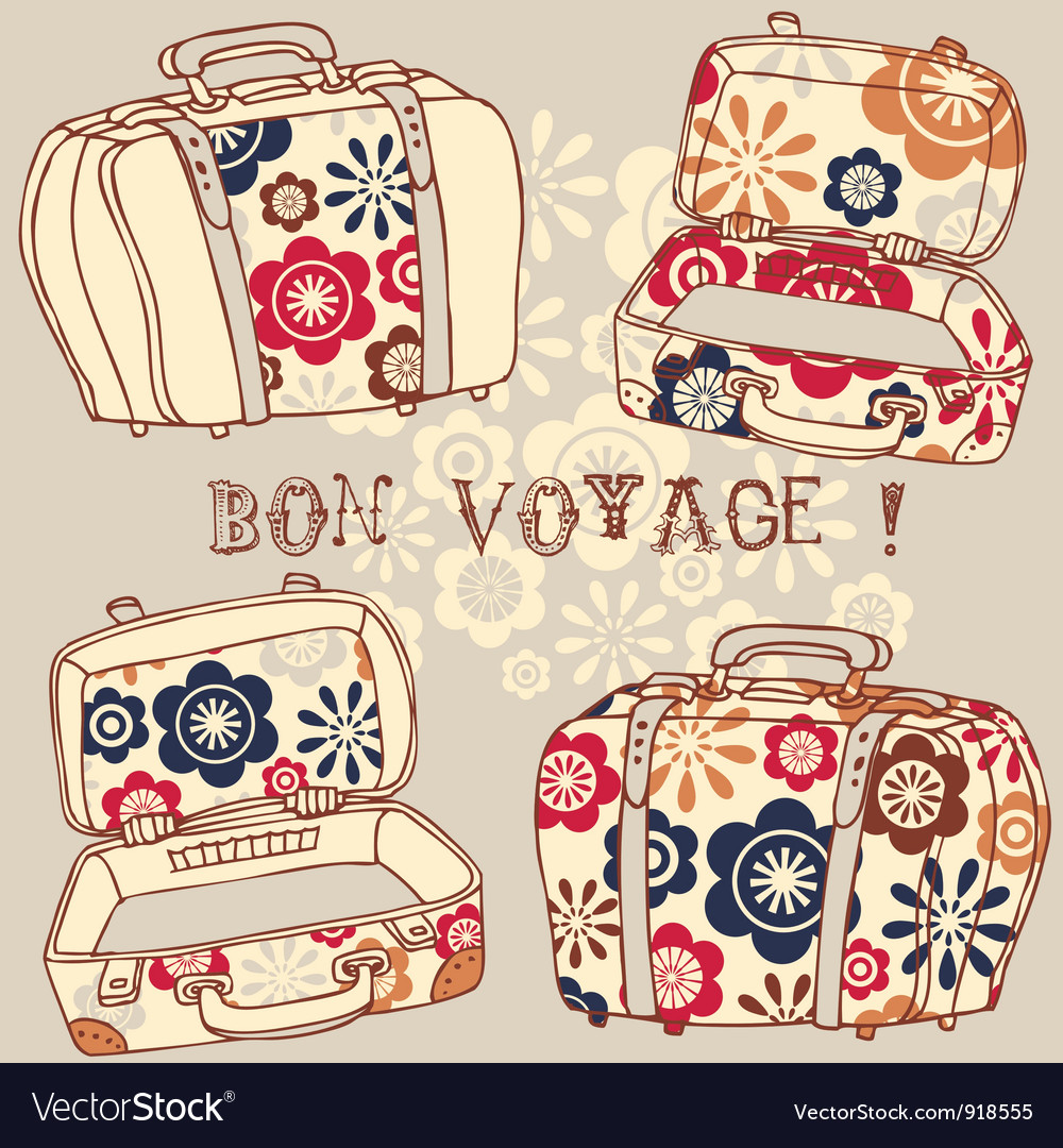 Bon voyage paris vacation vector | Price: 1 Credit (USD $1)
