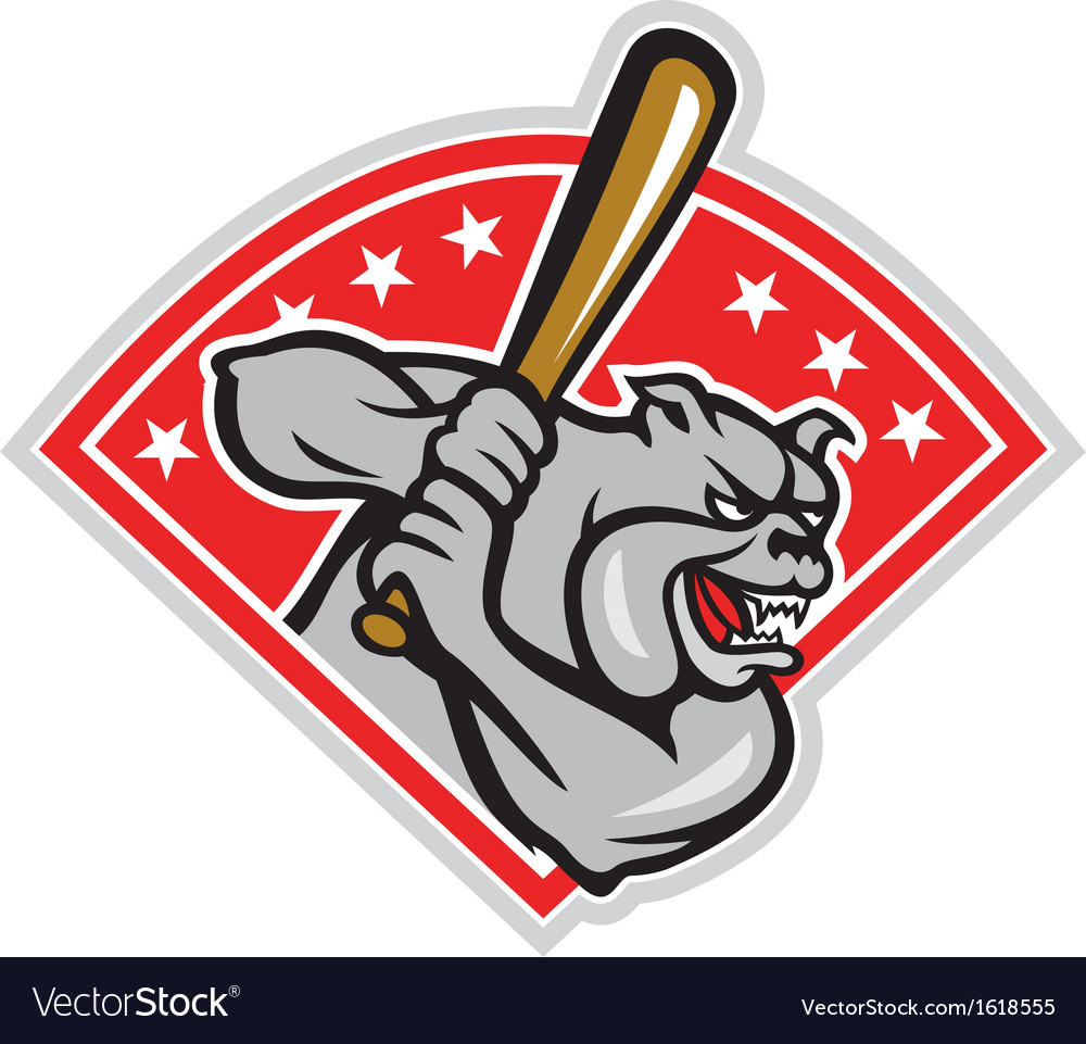 Bulldog baseball hitter batting cartoon vector | Price: 1 Credit (USD $1)