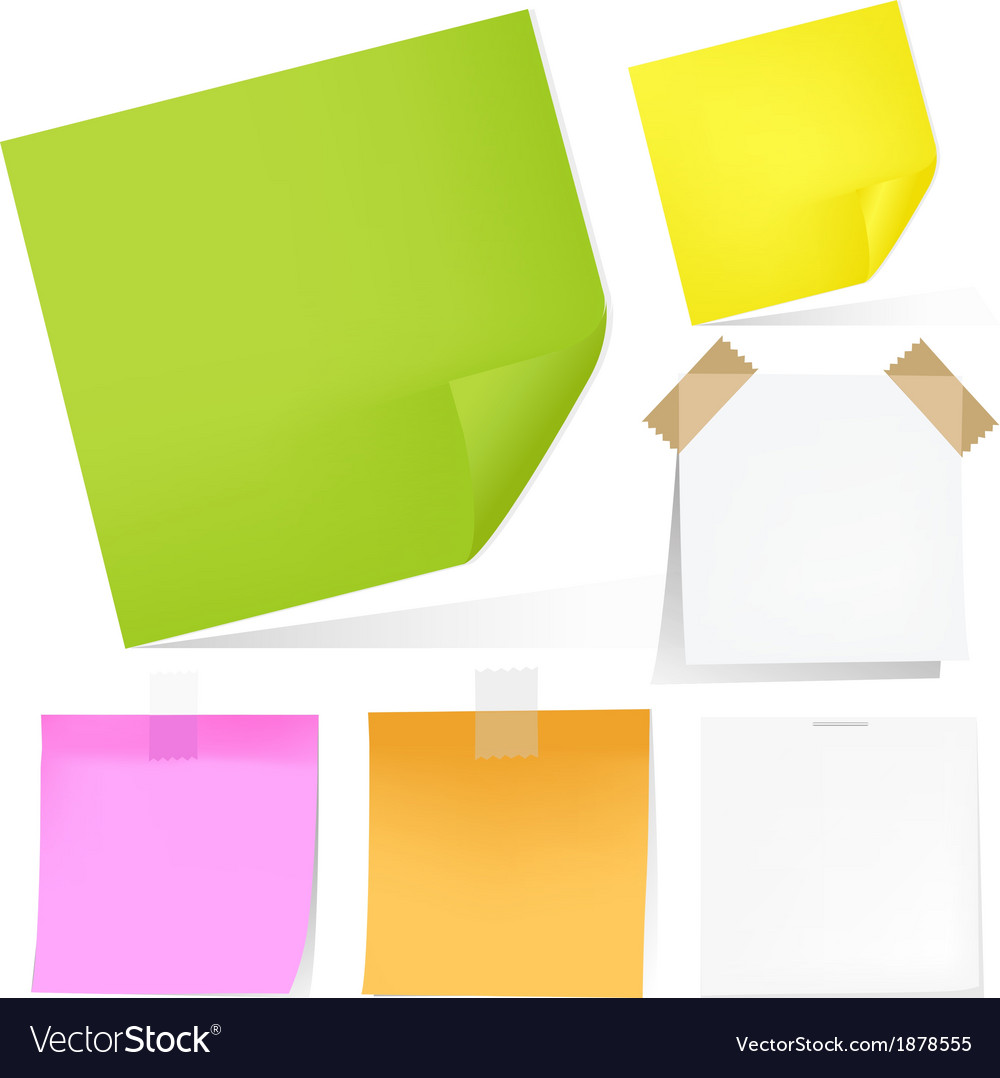 Color notes paper set vector | Price: 1 Credit (USD $1)