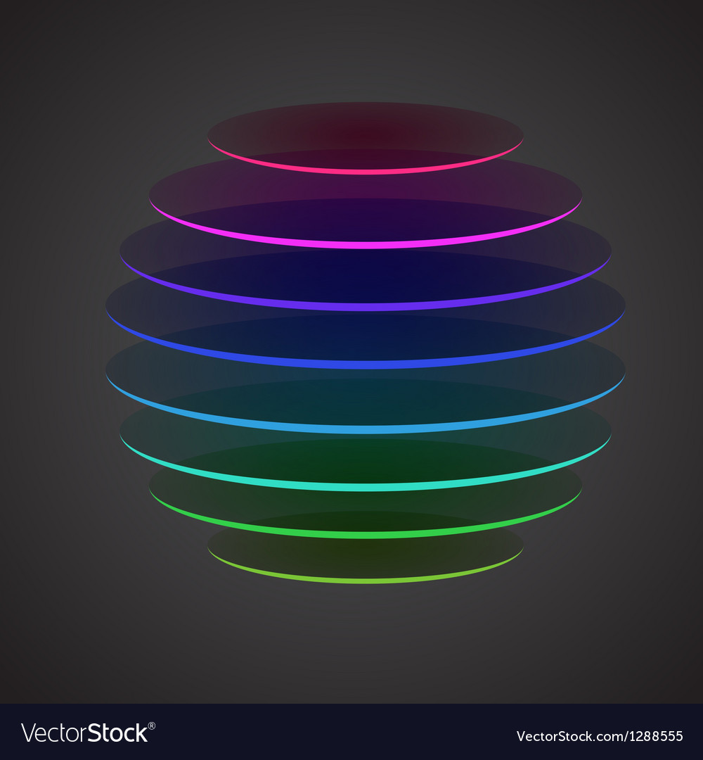 Colourful sliced sphere on dark background vector | Price: 1 Credit (USD $1)