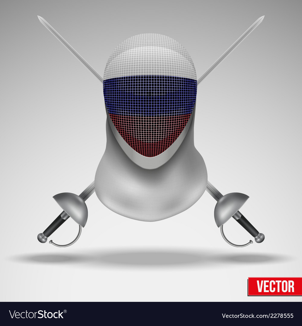 Fencer sword and mask with russia flag vector | Price: 1 Credit (USD $1)