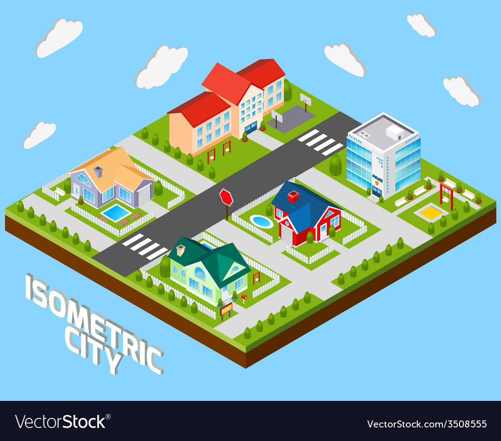 Isometric city project vector | Price: 1 Credit (USD $1)