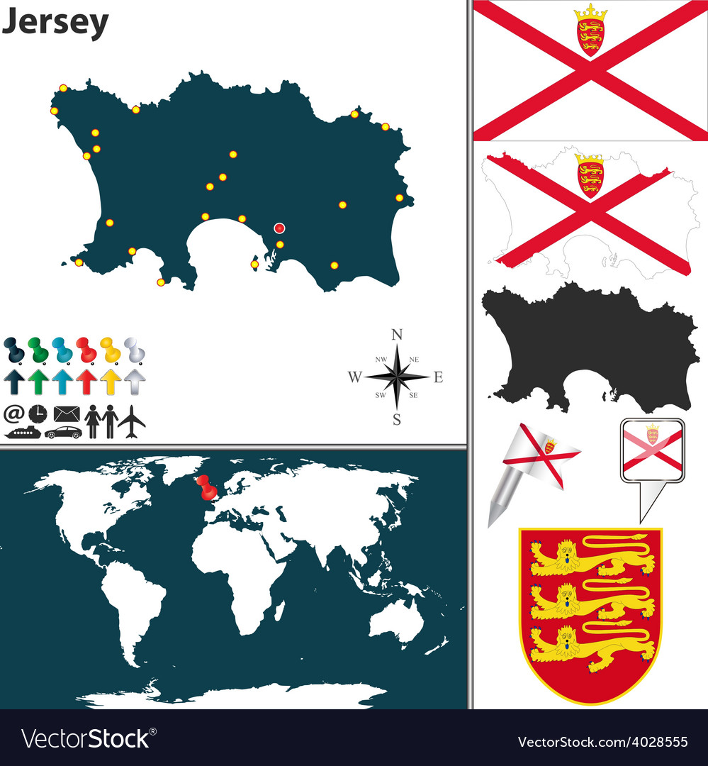 Jersey map vector | Price: 1 Credit (USD $1)