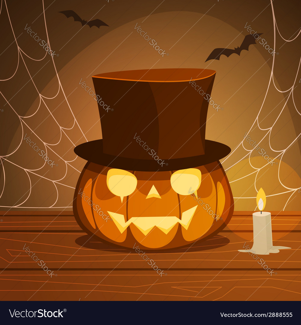 Pumpkin with hat vector | Price: 1 Credit (USD $1)