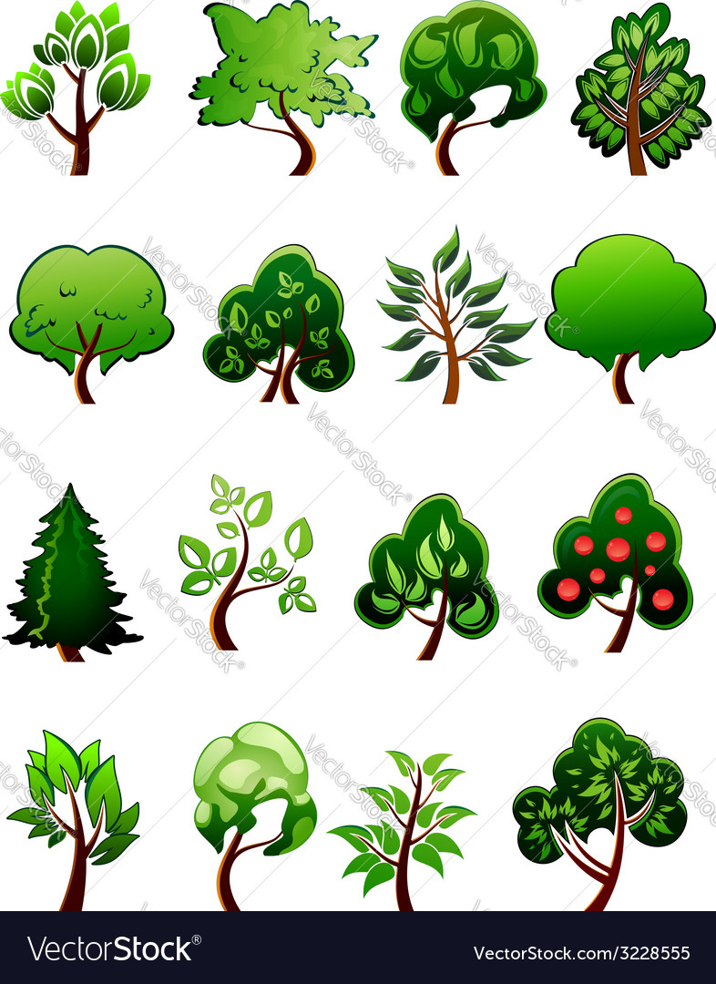 Set of cartoon green plants and trees vector | Price: 1 Credit (USD $1)