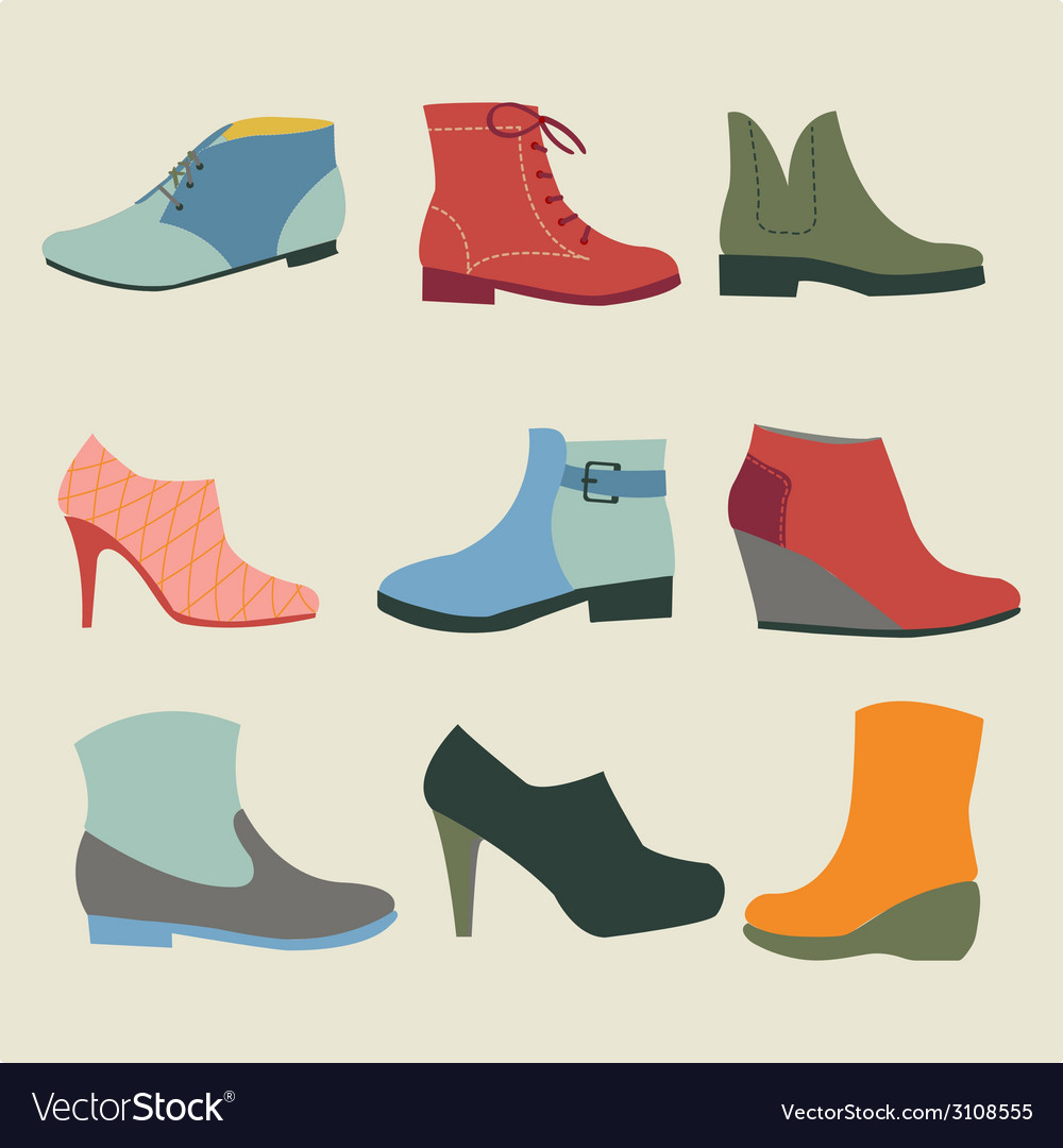 Set of fashion woman footwear vector | Price: 1 Credit (USD $1)