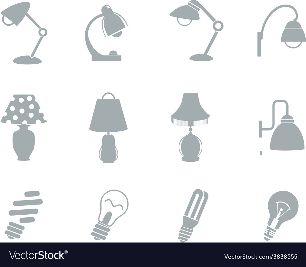 Set of table lamps vector | Price: 1 Credit (USD $1)