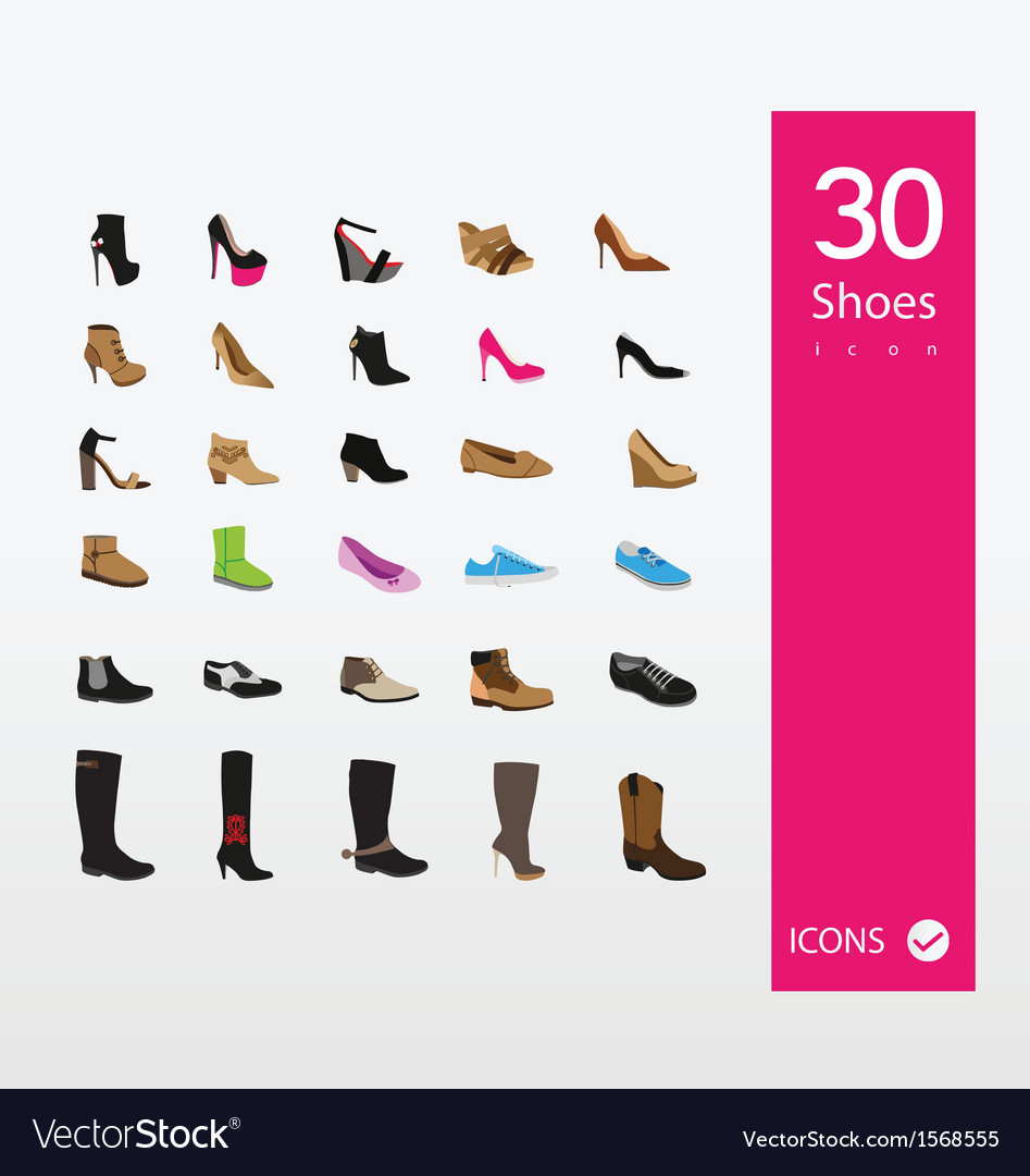 Shoes icons set vector | Price: 1 Credit (USD $1)