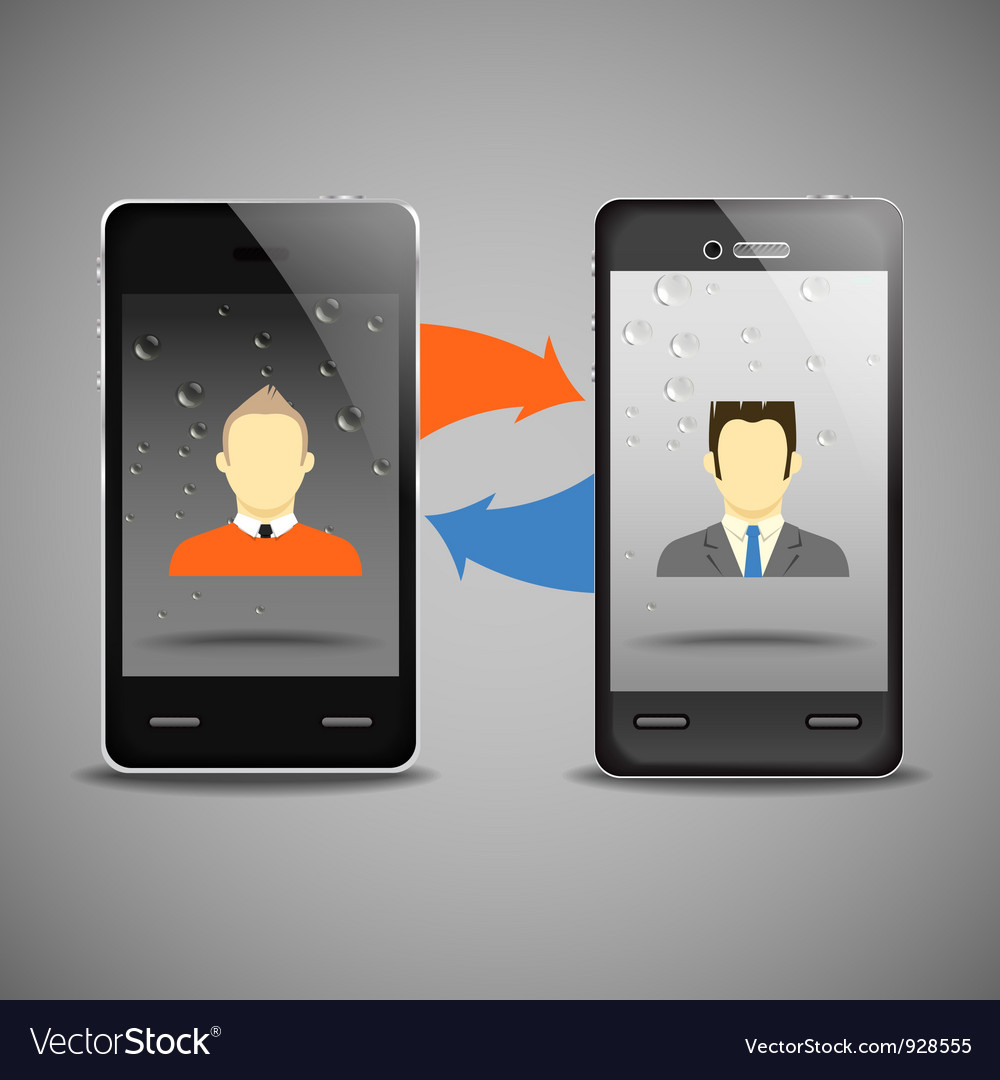 Two businessmen communicatitng with the phones vector | Price: 1 Credit (USD $1)