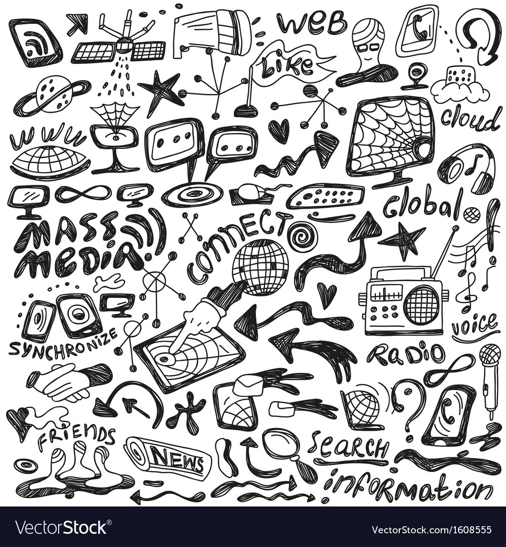 Web  mass media - doodles set vector | Price: 1 Credit (USD $1)