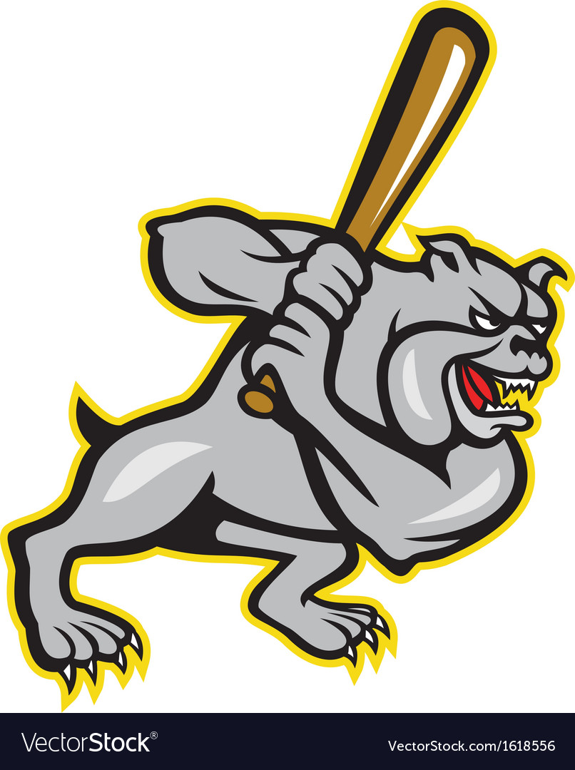 Bulldog dog baseball hitter batting cartoon vector | Price: 1 Credit (USD $1)