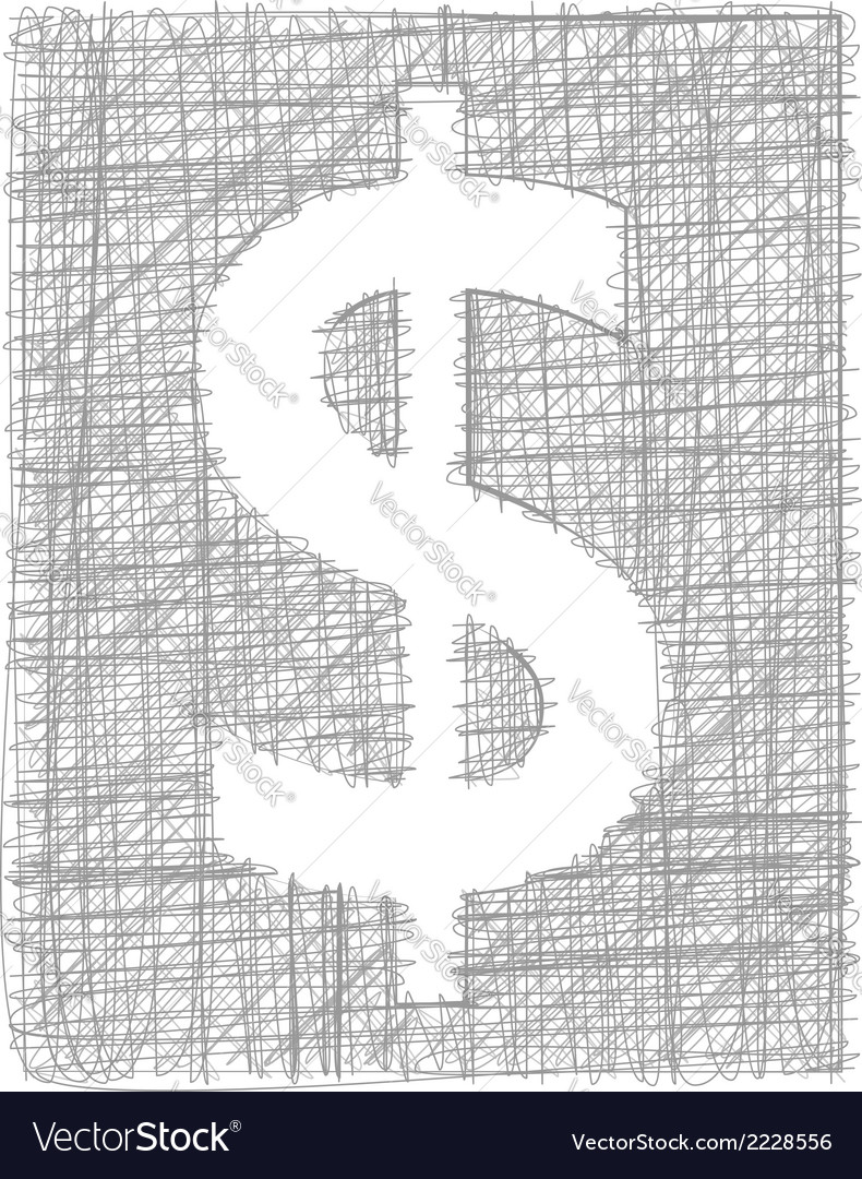 Dollar sign - freehand symbol vector | Price: 1 Credit (USD $1)