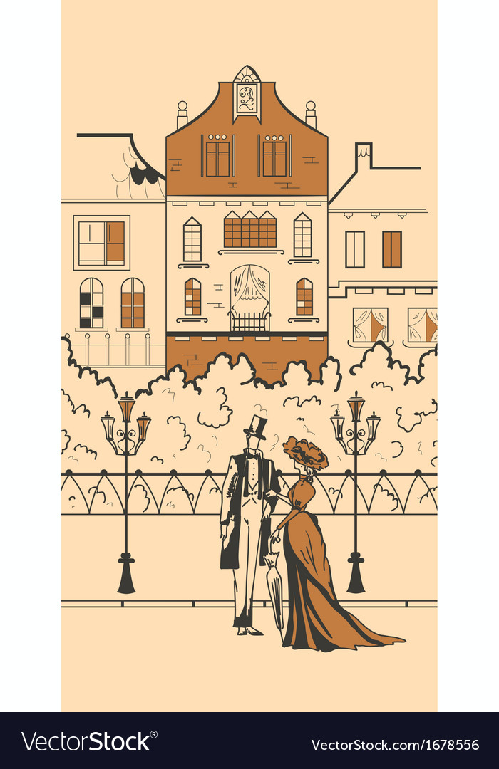 England town silhouette with people vector | Price: 1 Credit (USD $1)