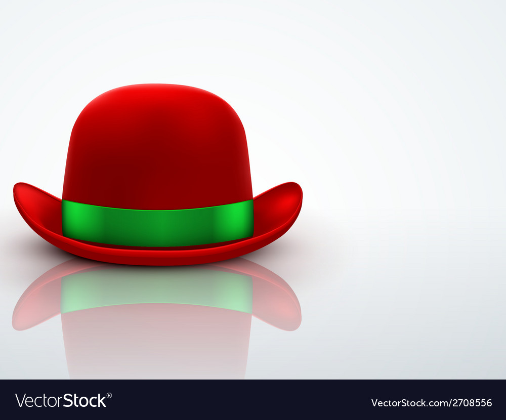 Red bowler hat on a light background vector | Price: 1 Credit (USD $1)