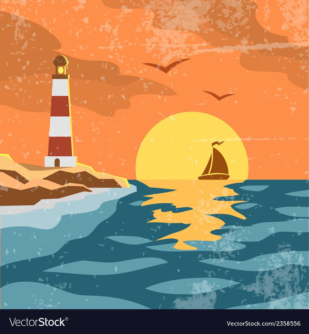 Sea retro poster vector | Price: 1 Credit (USD $1)