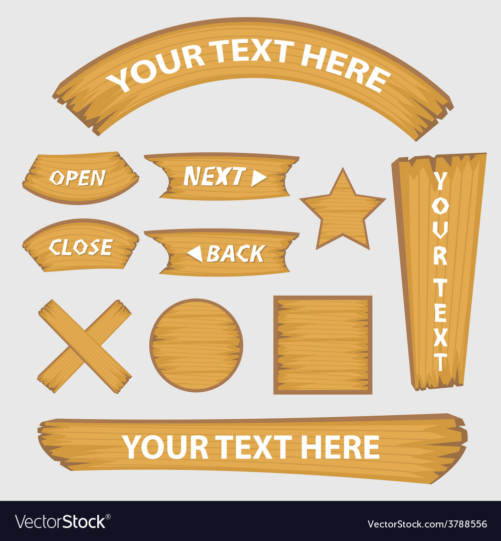 Set of wood button banner and signs style vector