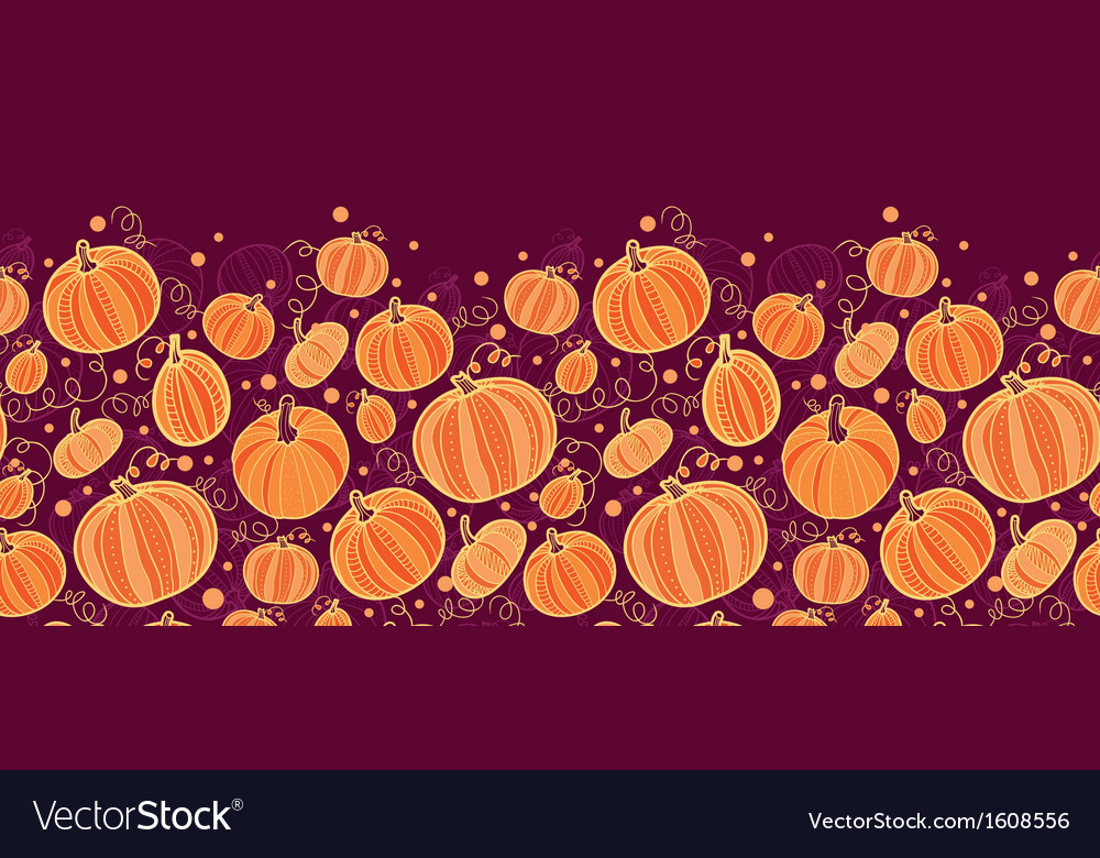 Thanksgiving pumpkins horizontal border seamless vector | Price: 1 Credit (USD $1)