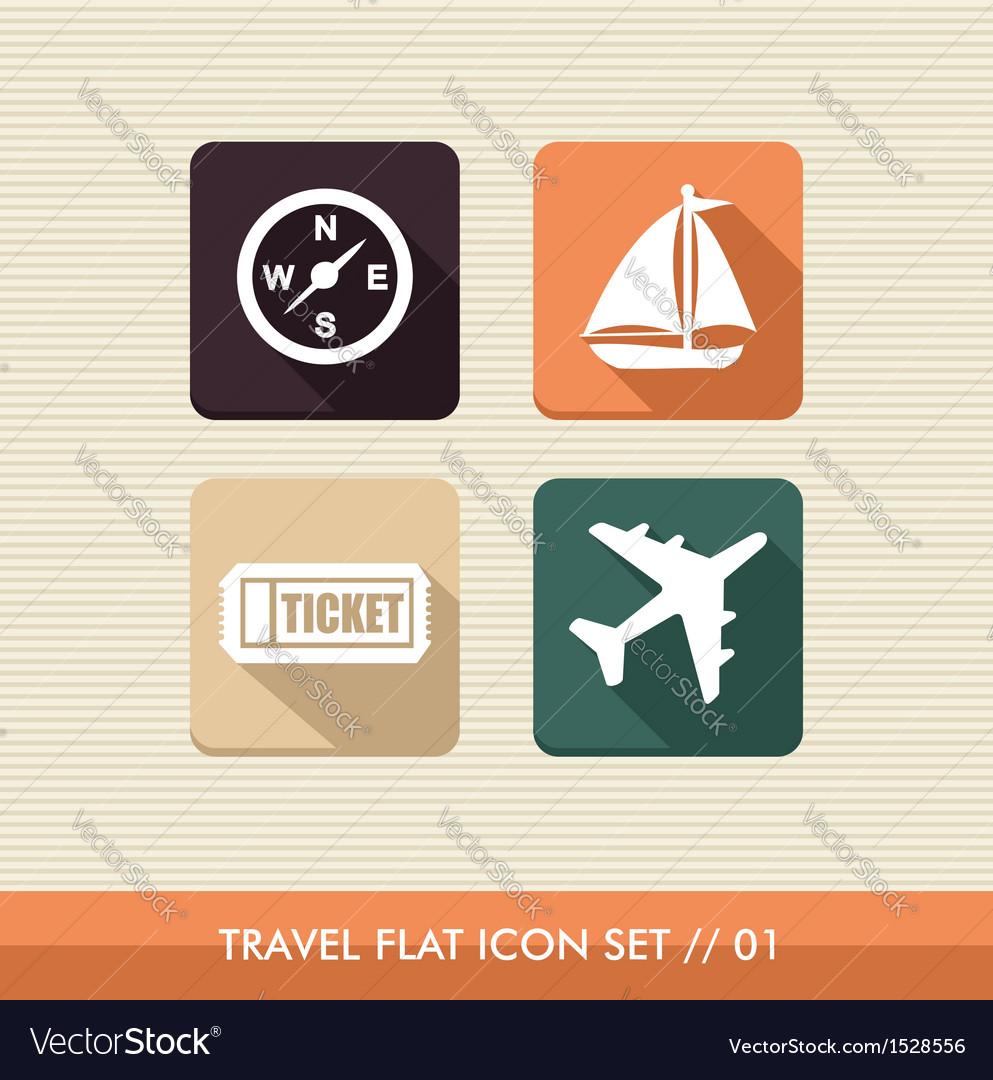 Travel flat icons set vector | Price: 1 Credit (USD $1)