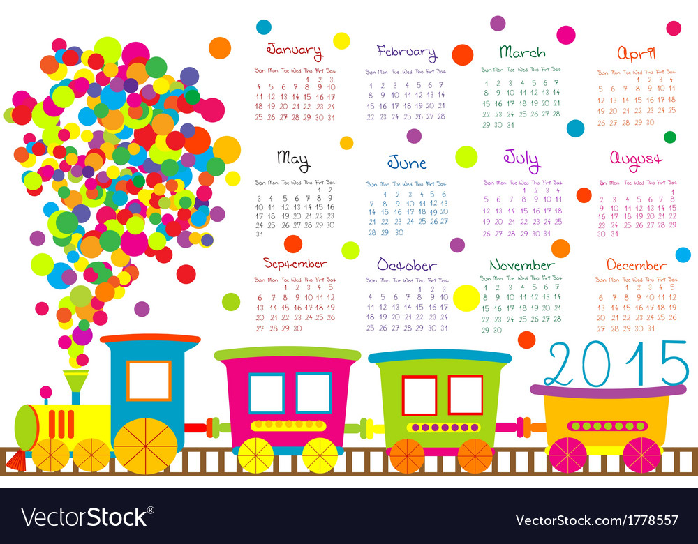 2015 calendar for kids with cartoon train vector | Price: 1 Credit (USD $1)