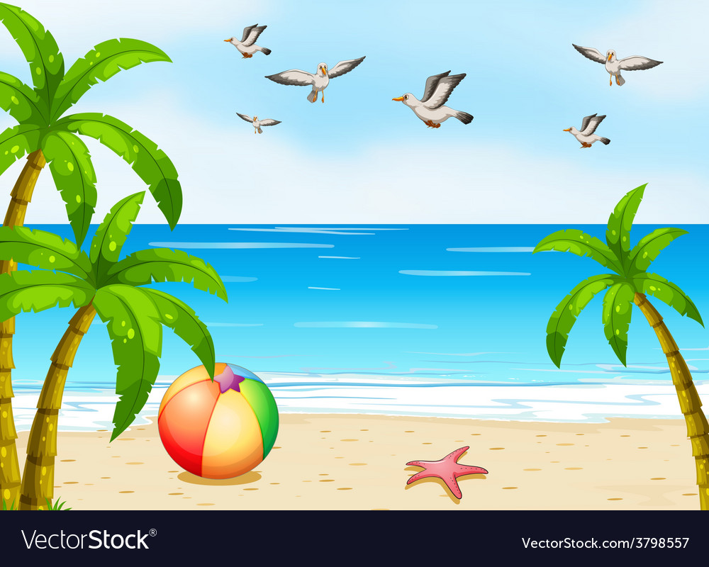 A beach with birds vector | Price: 1 Credit (USD $1)
